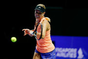 Angelique Kerber of Germany practices prior to the start of The 2018 BNP Paribas WTA Finals Singapore presented by SC Global at Singapore Indoor Stadium on October 20, 2018 in Singapore.