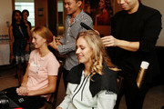 Angelique Kerber of Germany and Petra Kvitova of the Czech Republic attend the Style suite prior to the Official Draw Ceremony and Gala of the BNP Paribas WTA Finals Singapore presented by SC Global at Marina Bay on October 19, 2018 in Singapore.