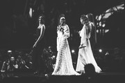 Image has been converted to black and white)  *** EDITORIAL USE ONLY IN RELATION TO THE BRIT AWARDS 2018 *** (R-L) Jade Thirlwall, Leigh Anne Pinnock, Perrie Edwards and Jesy Nelson of Little Mix onstage at The BRIT Awards 2018 held at The O2 Arena on February 21, 2018 in London, England.