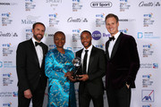 (L-R) Gareth Southgate, Manager of England, Baroness Amos and Dan Walker pose with The Integrity and Impact Award founded by Dow Jones Intelligence recipient Raheem Sterling (second from right) during the BT Sport Industry Awards 2019 at Battersea Evolution on April 25, 2019 in London, England. The BT Sport Industry Awards is the biggest commercial sports awards in the world and an annual showcase of the best of the sector's creative and commercial output. The event brings together sports stars, celebrities, industry leaders, influencers and media from around the world for what is always a highly anticipated occasion.