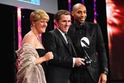 Thierry Henry and Clare Balding present the Outstanding Contribution to Sport, sponsored by CWM Cyclong Promotions to AP McCoy at the BT Sport Industry Awards 2015 at Battersea Evolution on April 30, 2015 in London, England. The BT Sport Industry Awards is the most prestigious commercial sports awards ceremony in Europe, where over 1750 of the industryÂ's key decision-makers mix with high profile sporting celebrities for the most important networking occasion in the sport business calendar.