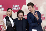 Actor Ansel Elgort (R), director Edgar Wright (C) and actress Eiza Gonzalez (L) attend 'Baby Driver' photocall at the Villamagna Hotel  on June 23, 2017 in Madrid, Spain.