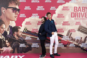 Actor Ansel Elgort (R) and  director Edgar Wright (L) attend 'Baby Driver' photocall at the Villamagna Hotel  on June 23, 2017 in Madrid, Spain.