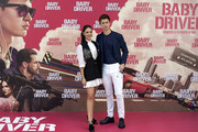 Actor Ansel Elgort and actress Eiza Gonzalez attend 'Baby Driver' photocall at the Villamagna Hotel  on June 23, 2017 in Madrid, Spain.