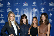 (L-R) Kelly Sawyer Patricof, Zooey Deschanel, Nicole Richie, and Norah Weinstein celebrate donation of One Million backpacks from Baby2Baby, Kawhi Leonard and the L.A. Clippers to students across Los Angeles at 107th Street Elementary on August 20, 2019 in Los Angeles, California.