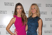 Katherine Webb (L) and Erin Heatherton backstage at the Badgley Mischka fashion show during Mercedes-Benz Fashion Week Spring 2015  at The Theatre at Lincoln Center on September 9, 2014 in New York City.
