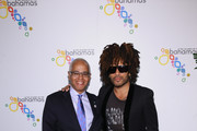 Bahamas Minister of Tourism Dionisio D?Aguilar and Lenny Kravitz arrive at The Bahamas x Lenny Kravitz Fly Away Campaign Launch on February 7, 2019 in New York City.