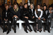 (L-R) Helena Bordon, Tina Leung, Chriselle Lim, Irene Kim, Negin Mirsalehi, Aimee Song and Camila Coelho attend the Balmain show as part of the Paris Fashion Week Womenswear Fall/Winter 2018/2019 on March 2, 2018 in Paris, France.