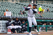 Miguel Cabrera #24 of the Detroit Tigers warms up in the batters circle against the Baltimore Orioles on his birthday during a MLB game at Comerica Park on April 18, 2018 in Detroit, Michigan.