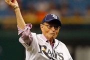 Larry King - Celebs Throwing the First Pitch