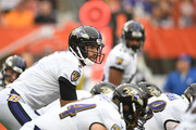Joe Flacco #5 of the Baltimore Ravens prepares to receive the ball in the first quarter against the Cleveland Browns at FirstEnergy Stadium on October 7, 2018 in Cleveland, Ohio.