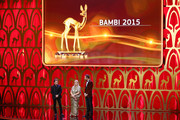 (L-R) Peter Maffay, Patricia Riekel and Kai Pflaume are seen on stage during the Bambi Awards 2015 show at Stage Theater on November 12, 2015 in Berlin, Germany.
