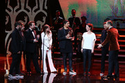 (L-R) Daniel Wirtz, Tobias Kuenzel, Sebastian Krumbiegel, Yvonne Catterfeld, Andreas Bourani, Hartmut Engler and Kai Pflaume are seen on stage during the Bambi Awards 2015 show at Stage Theater on November 12, 2015 in Berlin, Germany.