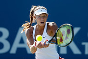 Vitalia Diatchenko of Russia plays against Ajla Tomljanovic of Croatia during day two of the Bank of the West Classic at the Stanford University Taube Family Tennis Stadium on August 4, 2015 in Stanford, California.