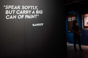 A Banksy quote is seen on the wall at the 'Banksy Genius or Vandal?' exhibition at Asobuild on March 27, 2020 in Yokohama, Japan. The exhibition, open amid the COVID-19 situation in the Tokyo suburb since its opening on March 15, 2020, will close for the coming weekend responding to the stay-at-home request ordered by Kanagawa and neighboring Tokyo Metropolitan governments this week.