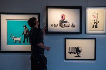 Banksy Colourful Exhibition Celebrating British Art At Sotheby's