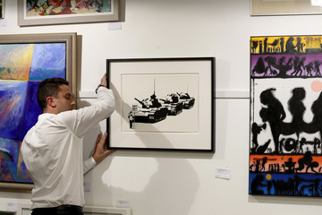Banksy Auckland Art Enthusiasts View Banksy Artworks Ahead Of Auckland Auction