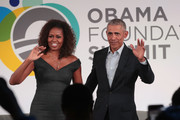 Former U.S. President Barack Obama and his wife Michelle close the Obama Foundation Summit together on the campus of the Illinois Institute of Technology on October 29, 2019 in Chicago, Illinois. The Summit is an annual event hosted by the Obama Foundation.