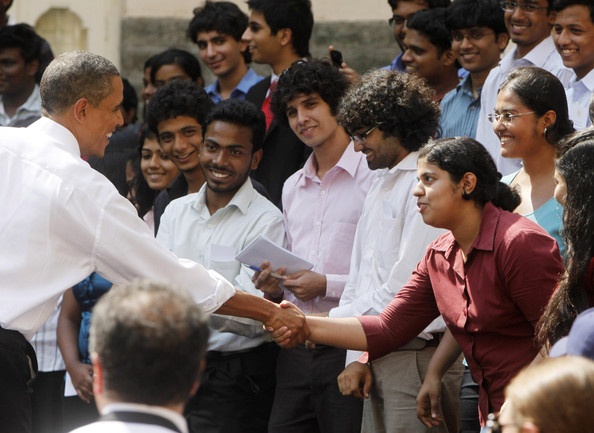 Barack Obama US President Barack Obama greets Indian students at St. Xavier's College on November 7, 2010 in Mumbai, India. The US President and the First Lady is on a ten day Asia tour with stops in India as well as Indonesia, South Korea and Japan.