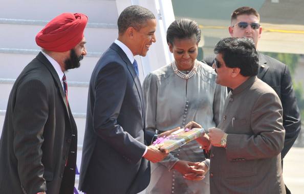 Barack Obama US President Barack Obama gets a gift from Ashok Chavan, Chief Minister of the Indian state of Maharashtra, of which Mumbai is the capital, along with his wife First Lady Michelle Obama on arrival on November 6, 2010 in Mumbai, India. The US President began his 10-day Asia tour in India where he is staying at Mumbai's Taj Mahal Palace hotel, the scene of a terrorist attack in 2008. During his tour the President will also visit Indonesia, South Korea and Japan.