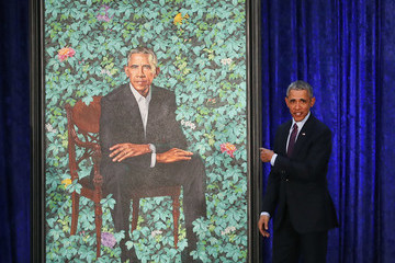 Barack Obama Barack And Michelle Obama Attend Portrait Unveiling At Nat'l Portrait Gallery
