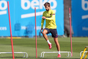 Gerard Pique of FC Barcelona works out during a training session at Ciutat Esportiva Joan Gamper on May 18, 2020 in Barcelona, Spain. Spanish LaLiga clubs are back training in groups of up to 10 players following the LaLiga's 'Return to Training' protocols.