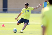 Luis Suarez of FC Barcelona kicks the ball during a training session at Ciutat Esportiva Joan Gamper on May 23, 2020 in Barcelona, Spain. Spanish LaLiga clubs are back training in groups of up to 10 players following the LaLiga's 'Return to Training' protocols.