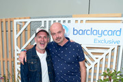 Chris Moyles (L) and Dominic Byrne attend the Barclaycard Exclusive Area at Barclaycard Presents British Summer Time Hyde Park at Hyde Park on July 06, 2019 in London, England.