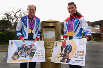Barney Storey Sarah & Barney Storey at Post Box  Painted In Honour Of their Paralympic Gold Medals
