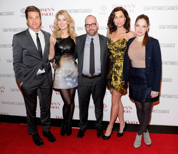 "Actors Scott Speedman, Rosamund Pike, Paul Giamatti, Minnie Driver and Anna Hopkins attend the premiere of ""Barney's Version"" at Paris Theatre on January 10, 2011 in New York City."