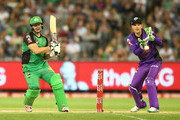 Luke Wright of the Stars bats as wicketkeeper Tim Paine of the Hurricanes looks on during the Big Bash League match between the Melbourne Stars and the Hobart Hurricanes at the Melbourne Cricket Ground on January 6, 2016 in Melbourne, Australia.