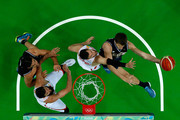 Nicolas Brussino #9 of Argentina shoots agaainst Rudy Fernandez #5 of Spain during a Men's Basketball Preliminary Round Group B game between Spain and Argentina on Day 10 of the Rio 2016 Olympic Games at Carioca Arena 1 on August 15, 2016 in Rio de Janeiro, Brazil.