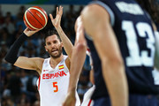 Rudy Fernandez #5 of Spain looks on during a Men's Basketball Preliminary Round Group B game between Spain and Argentina on Day 10 of the Rio 2016 Olympic Games at Carioca Arena 1 on August 15, 2016 in Rio de Janeiro, Brazil.
