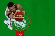 Rudy Fernandez #5 of Spain dunks against the United States during the Men's Semifinal match on Day 14 of the Rio 2016 Olympic Games at Carioca Arena 1 on August 19, 2016 in Rio de Janeiro, Brazil.