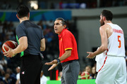 Head coach Sergio Scariolo of Spain and Rudy Fernandez #5 of Spain reacts to a call during the Men's Semifinal match against United States on Day 14 of the Rio 2016 Olympic Games at Carioca Arena 1 on August 19, 2016 in Rio de Janeiro, Brazil.
