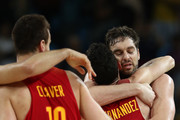 Pau Gasol #4 of Spain and Rudy Fernandez #5 of Spain celebrate winning the Men's Basketball Bronze medal game between Australia and Spain on Day 16 of the Rio 2016 Olympic Games at Carioca Arena 1 on August 21, 2016 in Rio de Janeiro, Brazil.