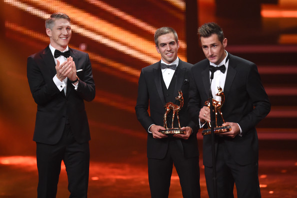 Bambi Awards Show [event,suit,performance,formal wear,award,tuxedo,music,musician,award ceremony,talent show,bastian schweinsteiger,miroslav klose,philipp lahm,bambi awards,stage,berlin,germany,bambi awards 2014,show]