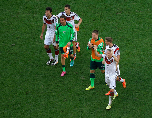 France v Germany: Quarter Final - 2014 FIFA World Cup Brazil [player,sport venue,football player,soccer player,team sport,stadium,soccer-specific stadium,football,soccer,ball game,mats hummels,bastian schweinsteiger,erik durm,ron-robert zieler,miroslav klose,l-r,germany,brazil,france,quarter final - 2014 fifa world cup]