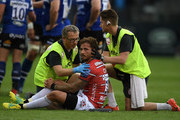 Danny Cipriani of Glocuester Rugby receives medical attention during the Gallagher Premiership Rugby match between Bath Rugby and Gloucester Rugby at the Recreation Ground on September 8, 2018 in Bath, United Kingdom.