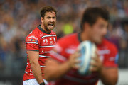 Gloucester player Danny Cipriani reacts during the Gallagher Premiership Rugby match between Bath Rugby and Gloucester Rugby at Recreation Ground on September 8, 2018 in Bath, United Kingdom.