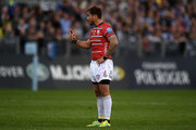Danny Cipriani of Gloucester Rugby reacts during the Gallagher Premiership Rugby match between Bath Rugby and Gloucester Rugby at the Recreation Ground on September 8, 2018 in Bath, United Kingdom.