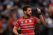 Danny Cipriani of Gloucester Rugby reacts at the final whistle during the Gallagher Premiership Rugby match between Bath Rugby and Gloucester Rugby at the Recreation Ground on September 8, 2018 in Bath, United Kingdom.
