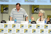 "Actors Burt Ward (L) and Julie Newmar attend the ""Batman: The Complete Series"" DVD release presentation during Comic-Con International 2014 at the San Diego Convention Center on July 24, 2014 in San Diego, California."