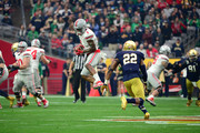 Wide receiver Braxton Miller #1 of the Ohio State Buckeyes hauls in a pass over safety Elijah Shumate #22 of the Notre Dame Fighting Irish during the first quarter of the BattleFrog Fiesta Bowl at University of Phoenix Stadium on January 1, 2016 in Glendale, Arizona.
