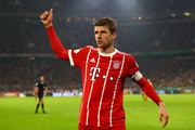 Thomas Mueller of Bayern Muenchen reacts during the DFB Cup match between Bayern Muenchen and Borussia Dortmund at Allianz Arena on December 20, 2017 in Munich, Germany.