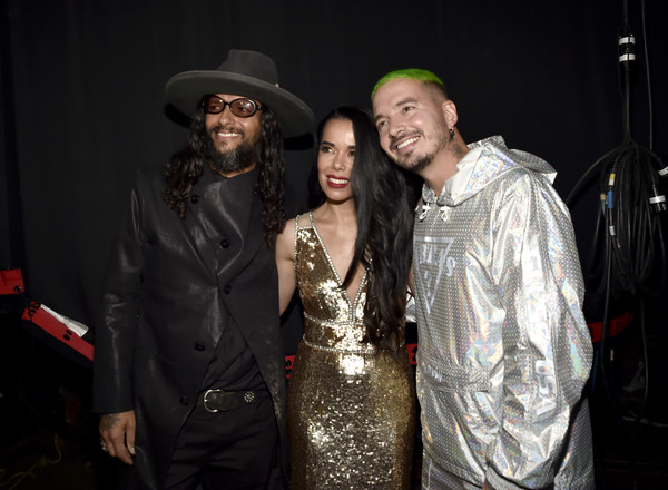 The 19th Annual Latin GRAMMY Awards  - Roaming Show [roaming show,fashion,event,formal wear,fashion design,fun,performance,night,fashion accessory,j balvin,beatriz luengo,draco rosa,l-r,las vegas,nevada,mgm grand garden arena,latin grammy awards]