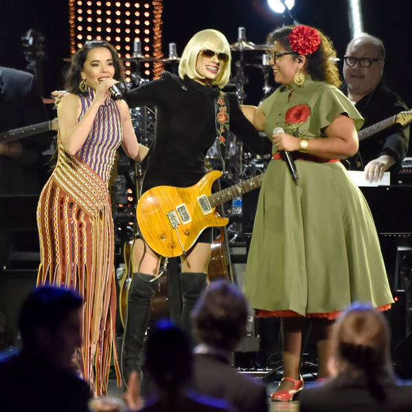 The 19th Annual Latin GRAMMY Awards  - Social [performance,entertainment,music,event,performing arts,musician,public event,performance art,music artist,musical instrument,beatriz luengo,la marisoul,orianthi,l-r,person of the year gala,mandalay bay events center,las vegas,nevada,mana,latin grammy awards]