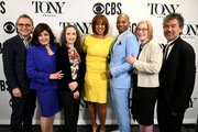 (L-R) The Broadway League Chairman Thomas Schumacher, The Broadway League President and CEO Charlotte St. Martin, Bebe Neuwirth, Gayle King, Brandon Victor Dixon, American Theatre Wing President and CEO Heather Hitchens, and American Theatre Wing Chairman David Henry Hwang attend The 73rd Annual Tony Awards Nominations Announcement on April 30, 2019 in New York City.