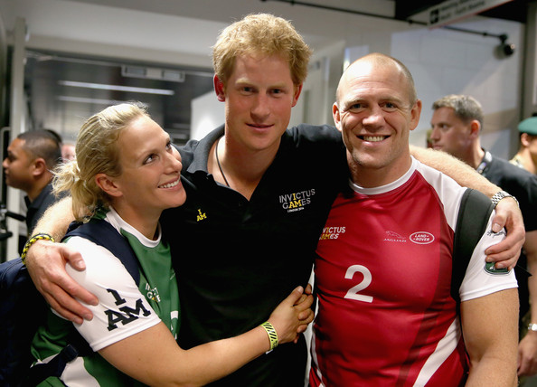 Prince Harry, Zara Phillips and Mike Tindall pose for a photograph after competing in an Exhibition wheelchair rugby match at the Copper Box ahead of tonight's exhibition match as part of the Invictus Games at Queen Elizabeth park on September 12, 2014 in London, England. The International sports event for 'wounded warriors', presented by Jaguar Land Rover, is just days away with limited last-minute tickets available at www.invictusgames.org