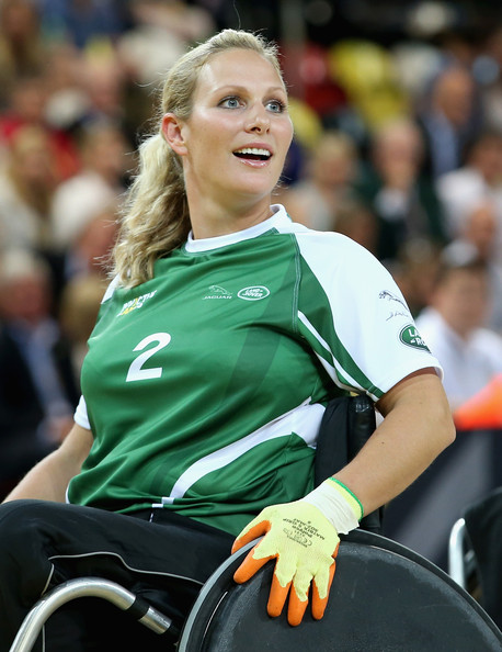 Zara Phillips competes during an Exhibition wheelchair rugby match at the Copper Box ahead of tonight's exhibition match as part of the Invictus Games at Queen Elizabeth park on September 12, 2014 in London, England. The International sports event for 'wounded warriors', presented by Jaguar Land Rover, is just days away with limited last-minute tickets available at www.invictusgames.org
